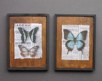 Wall art collage - Butterfly Talk -farmhouse - wall art