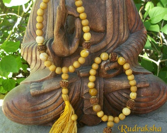 SANDALWOOD MALA Japa Buddhist Bracelet ~ Yoga Mala ~ Gemstone Mookite ~ Rudraksha Beads ~ Tassel ~ 3 Family Size Sm Med Lg
