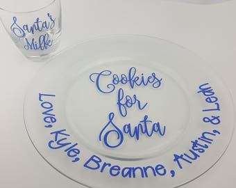 Cookies & Milk For Santa Set, Cup, Plate, Personalized, Blue Glitter