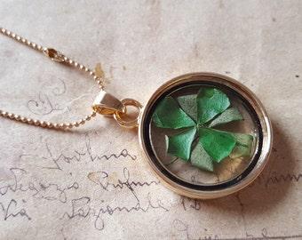 Clover Locket necklace ~ gold ~.