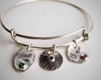 FINGERPRINT Jewelry,Sterling Silver Bracelet, Birthstone,Charm,Personalized,Gift,Mothers Day,Anniversary,New Mom,Grandma,Memorial,Loved One