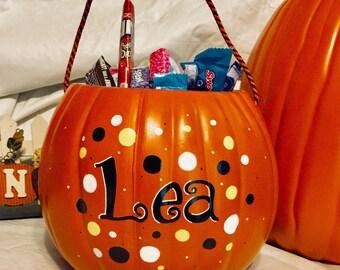 Personalized trick or treat pumpkin