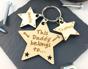Personalised This Daddy Belongs To Keyring, Fathers Day Gift Idea, Wooden, Star, Gift for Dad, Gift for Grandad, Superdad, keychain