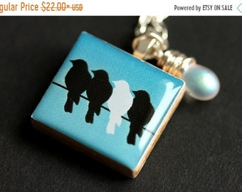 MOTHERS DAY SALE Bird Necklace. Birds On a Wire Necklace. Scrabble Tile Necklace with Wire Wrapped Teardrop. Scrabble Pendant. Handmade Jewe