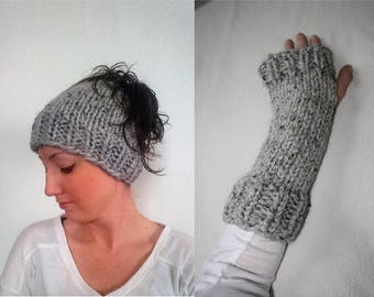 Knit Messy Bun Hat Fingerless Glove Set, Bun Hat Fingerless Arm Warmer Set, Knit Ponytail Hat Fingerless Gloves, Knit Hat Glove Grey Marble