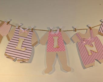 Garland baby clothes with name in 3D for baby shower, birthday decoration or maternity room door decoration