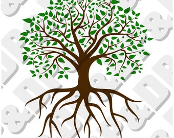 Family Tree with Roots Digital cut file for cricut or Silhouette svg, dxf