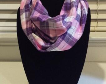 Pink and Purple Plaid Fleece Infinity Scarf