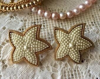 Vintage Starfish Pearl Earrings, pierced vintage earrings