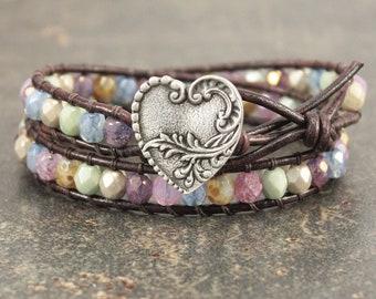 Heart Bracelet Off White Green Blue Silver Bronze Pink Lavender Heart Jewelry Shabby Boho Chic Leather Wrap Bracelet