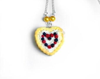 Wild Berry Tart, Love Heart Valentines Day Gift Clay Heart Tart Jewelry. Polymer Clay Lolita Fashion Jewelery. Handmade Jewellery. Fruit Pie