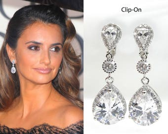 Rhodium or Yellow Gold Celebrity Inspired Classic Pear Cubic Zirconia CZ Dangle Clip-On Bridal Earrings, Wedding (Sparkle-2740)