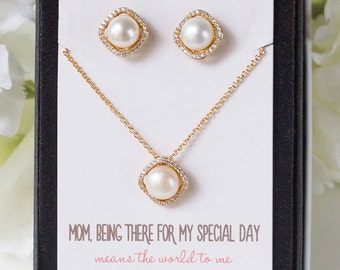 Gold Pearl Jewelry, Mother of the Bride Gift, Necklace and Earring Set, Mother of the Groom Gift, Pearl Earrings, Pearl Necklace, N534-GD