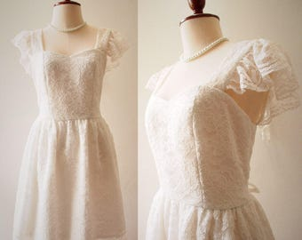 OLIVIA - Size S- Short Bridal Dress or Floor Length Formal White Lace Dress Ruffle Sleeve Sweetheart Dress Vintage Annabelle Dress