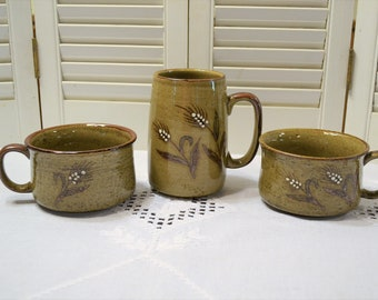 Vintage Stoneware Soup Mug Set of 2 plus Coffee Cup Mug Bowl with Handle Wheat Design Retro Kitchen Ware PanchosPorch