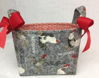 Red Grey Black Rooster Organizer bin / Fabric Basket / Small Diaper Caddy -Personalization Available