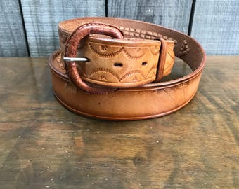 Tooled Leather Belt Mexico