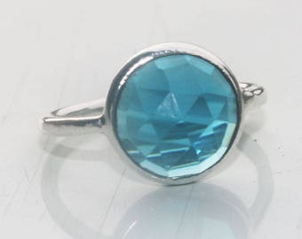925 Sterling Silver Ring, Silver Ring, Cushion Gemstone Ring, Blue Topaz Gems Ring, Stone Ring, Sterling Silver Ring