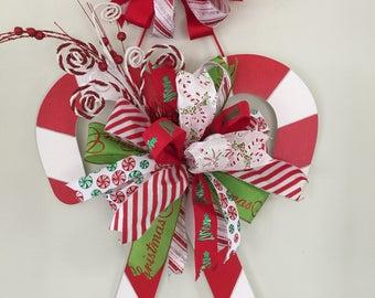 Christmas Door Hanger, Best Christmas Wreath, Candy Cane wreath, Christmas Designer Wreath, Holiday Wreath,