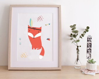 "Poster for children ""INDIAN FOX"" - illustration fox- perfect for a baby room"