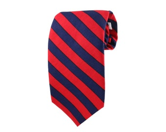 Red striped tie etsy red and navy blue stripped tie classic regimental tie classic tie with stripes ccuart Image collections