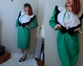 Put a Bow On It // Vintage 1980's Melissa Brand Collar Dress with Waist Bow // Pencil Skirt Dress Fitted Waist & Skirt Kelly Green Size 8