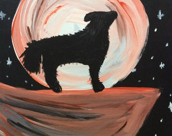 Wolf Howling Acrylic Painting