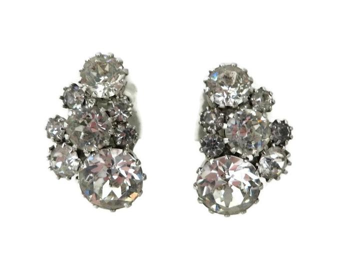 Vintage Rhinestone Earrings, Bridal Clip on Earrings, Clear Rhinestone Cluster Earrings, Bridal Jewelry, Signed Weiss Earrings, Evening Wear