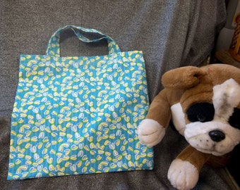 Library Book Lunch Gift Tote Bag, Small Winged Bugs Blue Print