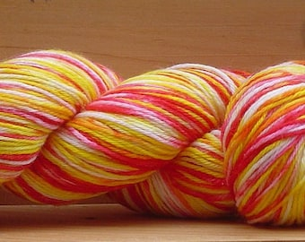 Sock (4Ply), hand-dyed yarn, 100g - Yellow & Pink