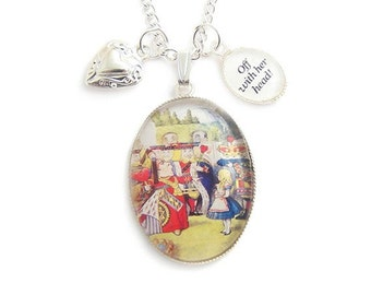 Alice in Wonderland necklace Queen of hearts OFF with her head charm pedant