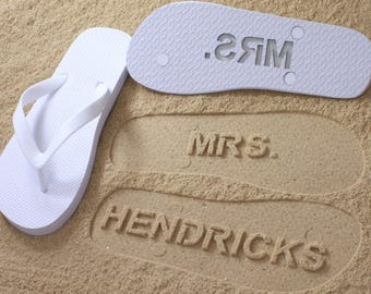 Custom Bride Flip Flops - Personalized Name Sandals for Wedding & Bridal Party *check size chart, see 3rd product photo*