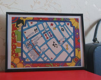 Psychedelic Mod Inspired Illustrated Map of 1960s London 'Carnaby Street' - A4 Print - 60s Fashion (NOT FRAMED)
