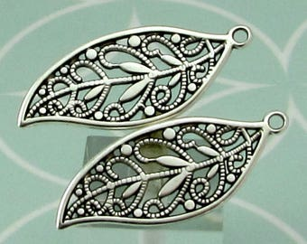 Filigree Leaf Pendant, Antique Silver, 2 Pieces, AS459