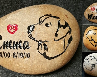 "LABRADOR  / LAB Memorial Stone approx. 8"" or 6"" Engraved PERSONALIZED with Name  Options: Small Heart-Paw &/or Dates"