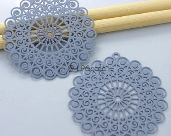 Stylized rosettes set of 2 prints - blue - gray color Diam: 41mm # 823