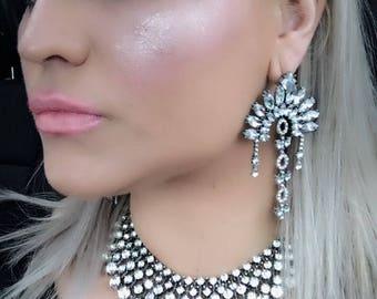 Statement Oversized earrings Statement earrings chandelier earrings Crystal Chandelier Earrings boho Earrings Vintage earrings big earrings