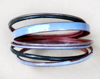Grey-Blue Bangle Set - Handmade Enamel Bracelets