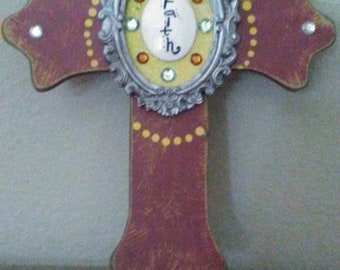 "Cross 12"" wooden with bling."