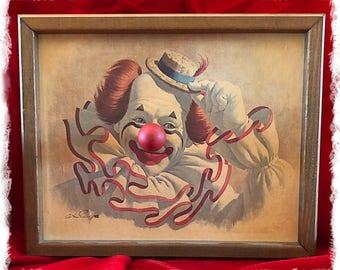 Vintage - Clown Music Box in a Frame