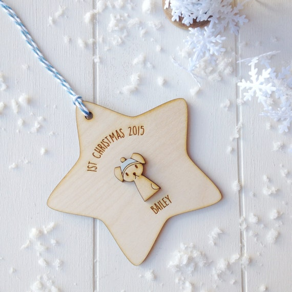 Puppy's First Christmas Tree Decoration - personalised puppy decoration - puppy keepsake