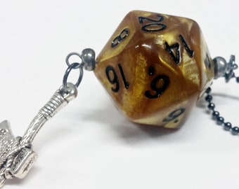 D20 Necklace: ball chain, dice pendant, Dungeons and Dragons necklace, dice jewelry, D&D necklace, custom charm, axe charm, free dice bag