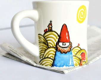 Gnome mug, coffee cup, diner mug, hand painted, tomte, nisse, personalized, ceramic mug, unique coffee mug, elves, dwarf, gift under 20