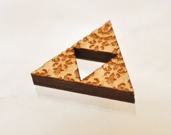 Triforce birchwood brooch fanart triangle geometric with floral engraving thick