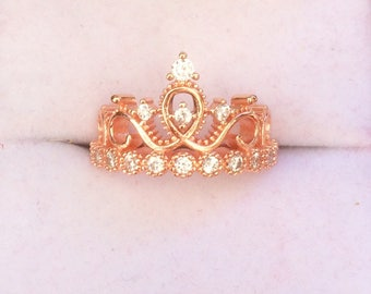 SALES -25%!!Tiara ring pink gold plated engagement ring cubic zirconia ring rose gold crown ring ,pink gold engagement ring