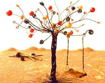Tree with wire and orange beads - custom