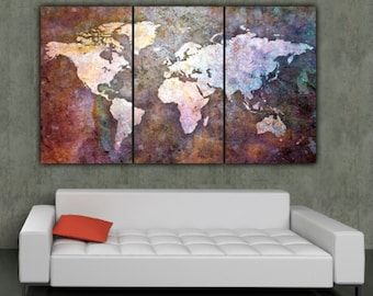 Globe tan map world map canvas vintage map set large wall world map art on canvas multi color 3 panel large canvas set world publicscrutiny Images
