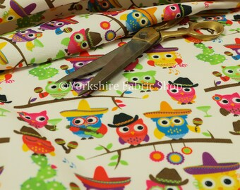Velour Velvet Texture Upholstery Material Fabric Colourful Owls Animal Pattern - Sold By The 1 Metre Length Fabric