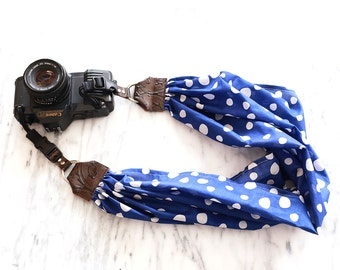 Scarf Camera Strap with Quick Release Buckles -- Polkadot Camera Strap -- The 'Rain' DSLR Camera Strap