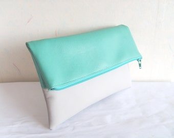 Mint clutch, vegan leather clutch, Foldover clutch purse, colorblock clutch
